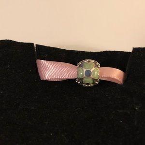 Pandora blue enamel floral bead